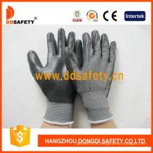Graues Nylon mit schwarzem Nitril-Handschuh-Dnn468