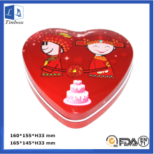 Empty Heart Shaped Chocolate Tin Box
