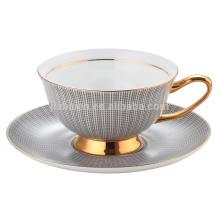 Fashion Decal Porzellan Tasse und Untertasse mit Gold Hand