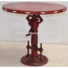 Vintage Industrial Jack Kurbel Tisch Rot Antique Finish
