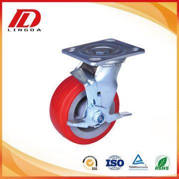 5 '' Brake heavy duty caster med pu hjul