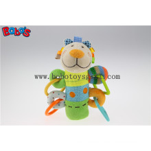 Soft Stuffed Colorful Lamb Animal Style Plush Baby Rattle Stick Toy with Plastic Accessory Bosw1046
