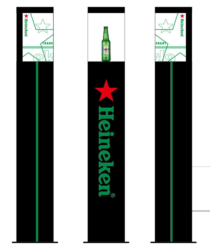 Heineken floor stand led display