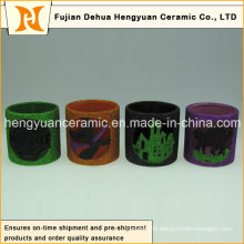 Hollow out of Coloured Ceramic Small Lamp Chimney for Halloween Decorations