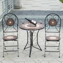 China manufactuer meuble de jardin classique meuble de table ronde en mosaïque et chaise