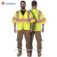100% Gilet réfléchissant de haute visibilité de veste de sécurité de visibilité élevée de polyester avec la tirette, fluo fluorescent de Salut-vis