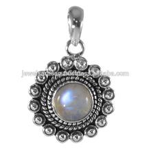 Natural Rainbow Moonstone Gemstone 925 Sterling Silver Pendant