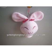 Conejo rosado relleno de la felpa llavero personalizado