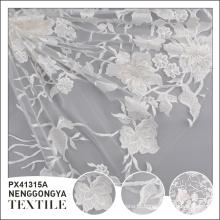 Top qualidade tecidos macios poliéster bordado branco