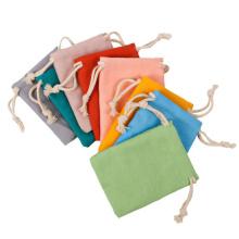 Promotional Custom yellow black white Muslin drawstring pouch personalize LOGO cotton drawstring bag