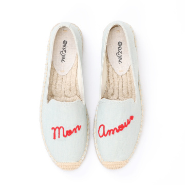 Parche bordado con letras inglesas, zapatos de lona planos para mujer