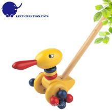 Vorschule Kinder Glückliche Tier Spielzeug Holz Push-along Ente