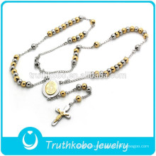 Cucstom Design 2015 Spring European-style Two Tone Disco Ball Rosary Stainless Steel Bead Christian Mens Necklace