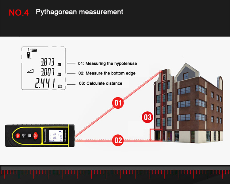 How to use 50m Outdoor Laser Distance Measurer to measure Pythagorean