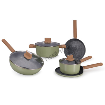 Stocked Feature Metal Material Nonstick Marble cookware set