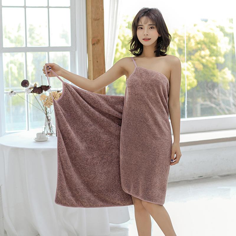 Wearable Microfiber Bathrobe Woman Shower Female Soft Bath Towel for Adults for Home Textiles Bath and Sauna Towels Bathroom