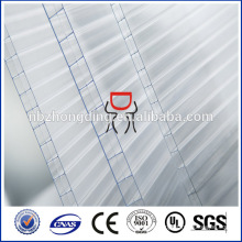 12mm transparent uv coating three wall polycarbonate hollow sheet