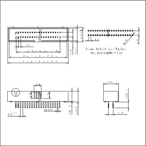 BHBS02 1.27x2.54mm Box Header 180°H=5.9