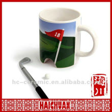 Ceramic golf flag and cup, golf putting cup, golf green cup