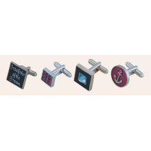 Praça quadrados promocionais Stampe Metal Cufflinks (GZHY-XK-011)