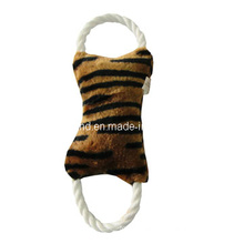 Dog Leopard Grain Color Plush Rope Bone Toy, Pet Toy