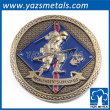 el metal de oro de la galjanoplastia graba la moneda de encargo redonda