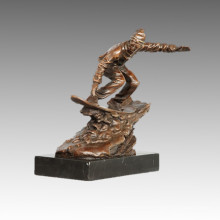 Sports Statue Skiing Player Bronze Sculpture, Nick TPE-788