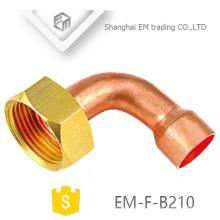 Encaixe de tubulação de cobre do cotovelo EM-F-B210 com rosca fêmea sextavada