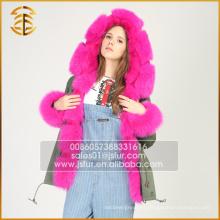 Fábrica Directamente Suministro Casual Faux Raccoon Coat Womens Hooded Parka