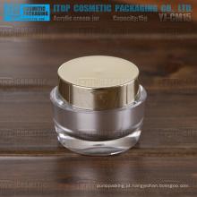 YJ-CM15 15g delicada e fácil de ser realizada pequeno frasco plástico de alto brilho de ouro e prata