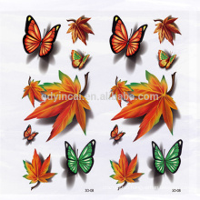 Maple leaves pattern Autumn design Temporary 3D tattoo sticker for covering scars