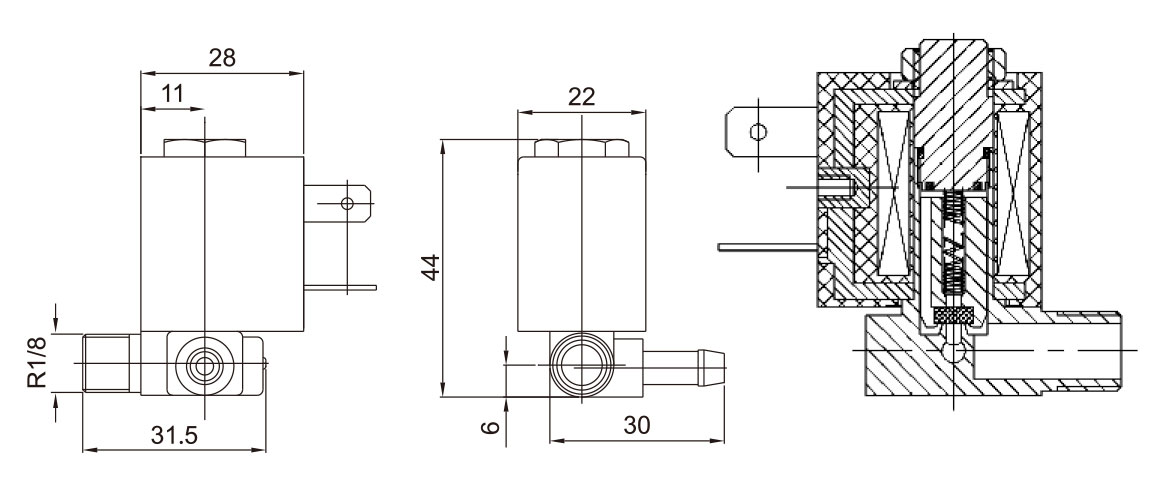 Dimension of 5523 Normally Closed Electrical Valve: