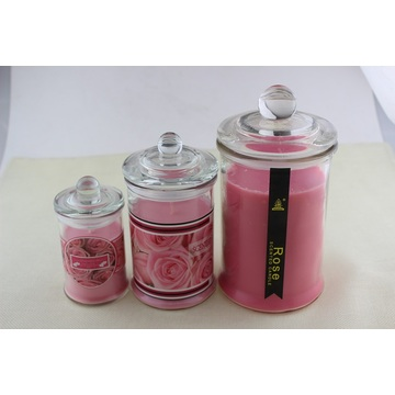 Hot Sale Rose Scent Glasburkstearinljus
