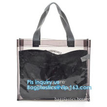 fashion pvc mirror vinyl shopping bag with printing, Recyclable Durable Clear PVC Shopping Bag with Button Closure