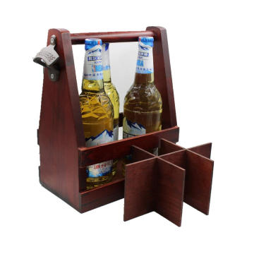 Beer Carrier Wood Six Pack wooden beer caddy with opener