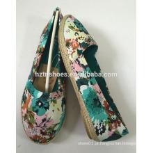 Preço barato florais impressão lona sapatos mulheres calcanhar plano calçado casual