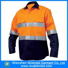 100% algodão alta visibilidade laranja trabalho manga comprida camisa de segurança