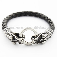 high quality steel dragon tap black Leather Bracelet for men fashion jewelry 2015