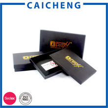 Luxury 3D gold embossing rigid black paper gift box