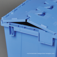 High quality plastic storage boxes hinge lids flat nesting containers