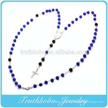Religieux dernière conception en plastique 8mm collier de chaîne de perles vertes et noires avec des conceptions de charme de croix en acier inoxydable TKB-N120