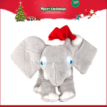 Brinquedo luxuoso enchido por atacado do luxuoso do som do elefante com orelhas grandes