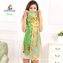 Lingshang new women's fashion long soft wrap ladies shawl silk printing chiffon scarf