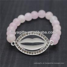 2014 Quartzo De Pedra Natural Gemstone Novo Design Com Diamante Boca Pulseira