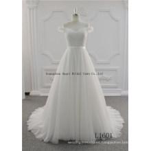 con apliques de encaje una línea de hombro vestido de novia del príncipe