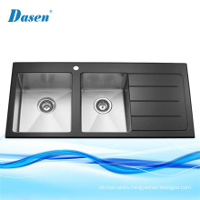 Molded Double Bowl Stainless Steel Toughened Tempered Black Glass Panel Kitchen Sink