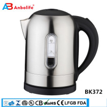 High quality promotion stainless steel inside&hinged lid with large opening suto shut-off electric glass tea pot kettle