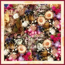 Bufandas cuadradas de seda del 100% con la impresión digital de la flor