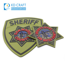 Manufacturer customized 3D security army air force uniform sheriff star custom soft PVC military badge patch for sale