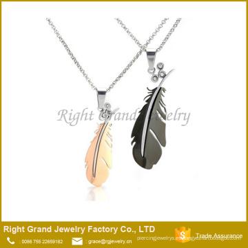 Conjunto de collar de amor Par colgante de encanto de acero inoxidable